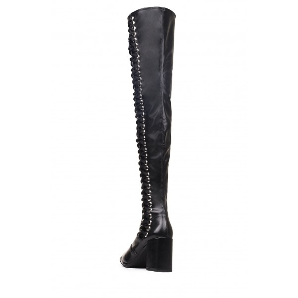 Black Lace Up Boots Slouch Chunky Heel Thigh High Boots image 2