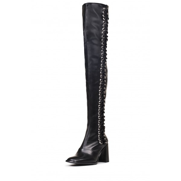 Black Lace Up Boots Slouch Chunky Heel Thigh High Boots image 3