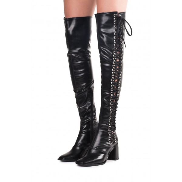 Black Lace Up Boots Slouch Chunky Heel Thigh High Boots image 1