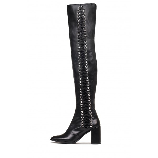 Black Lace Up Boots Slouch Chunky Heel Thigh High Boots image 4