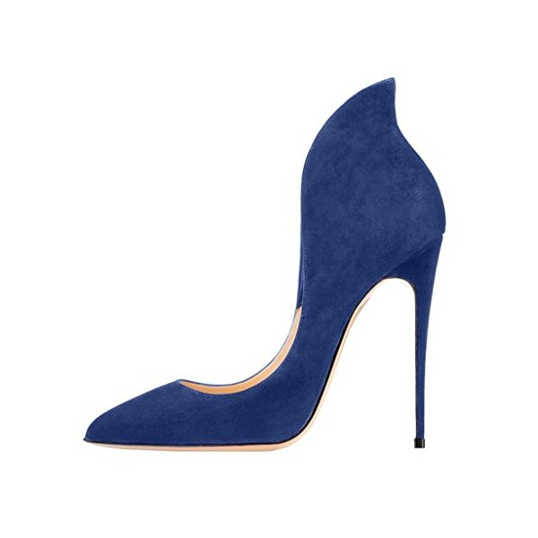 Navy Suede Shoes Stiletto Heel Pumps Pointy Toe Office Shoes image 3