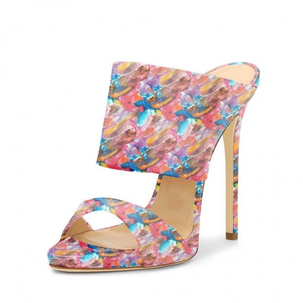 Floral Stiletto Heels Open Toe Mule Sandals by FSJ image 1