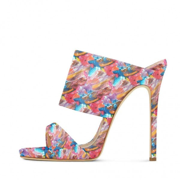 Floral Stiletto Heels Open Toe Mule Sandals by FSJ image 2