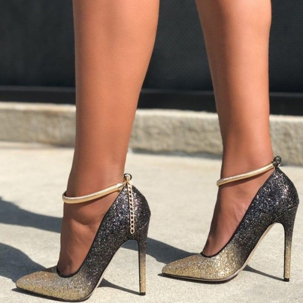 Gold and Grey Glitter Ankle Strap Heels Pointy Toe Pumps image 1
