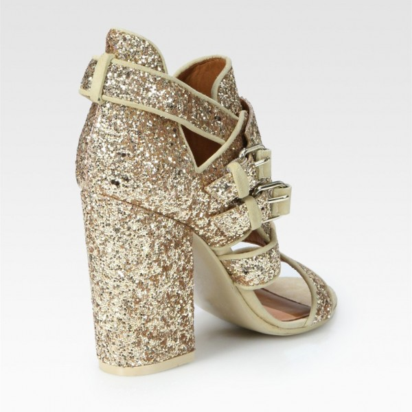 Gold Glitter Shoes Open Toe Chunky Heel Sandals for Prom image 4