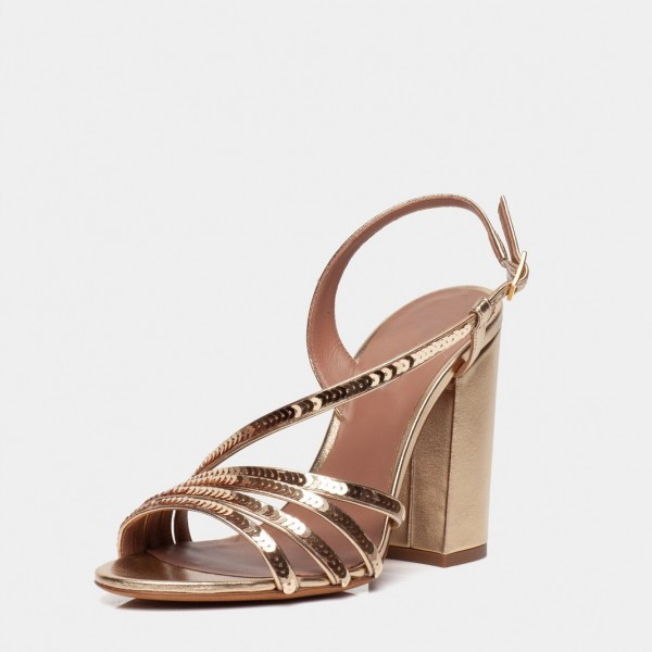 Gold Chunky Heel Sequined Slingback Shoes Sandals image 1