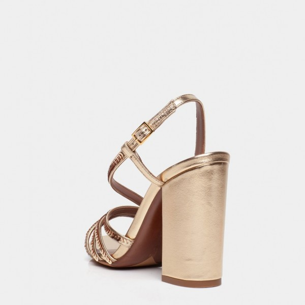 Gold Chunky Heel Sequined Slingback Shoes Sandals image 2