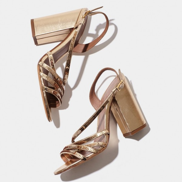Gold Chunky Heel Sequined Slingback Shoes Sandals image 3
