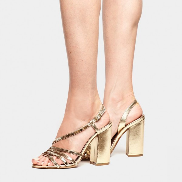 Gold Chunky Heel Sequined Slingback Shoes Sandals image 4