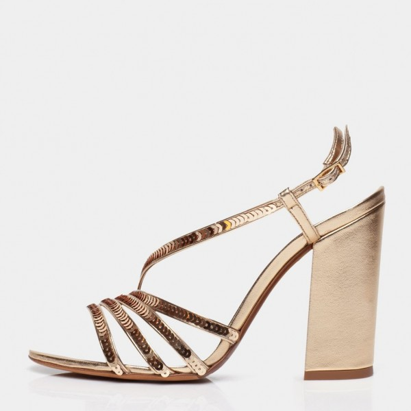 Gold Chunky Heel Sequined Slingback Shoes Sandals image 5