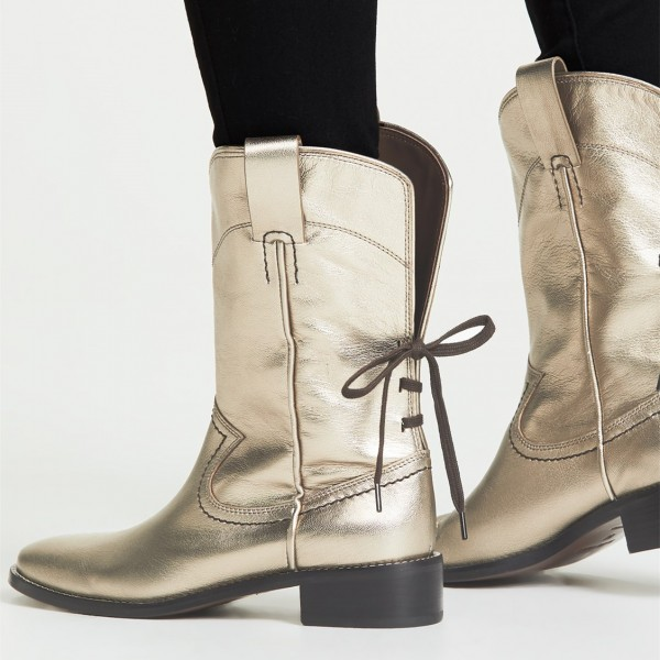 Gold Chunky Heels Cowgirl Boots Round Toe Back Lace up Ankle Booties image 2