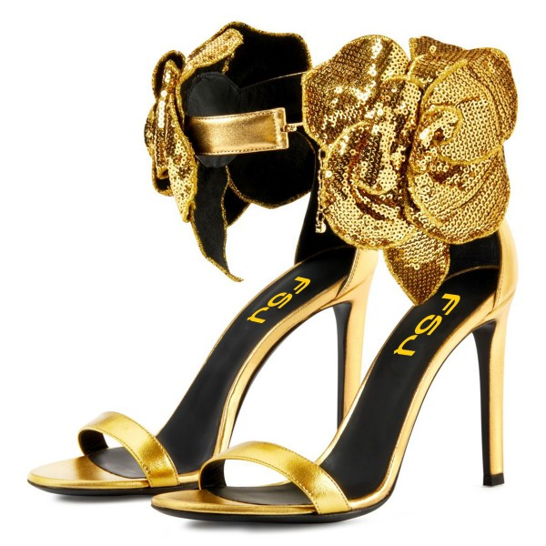 Gold Flower Embellished Evening Shoes Ankle Strap Sandals image 1