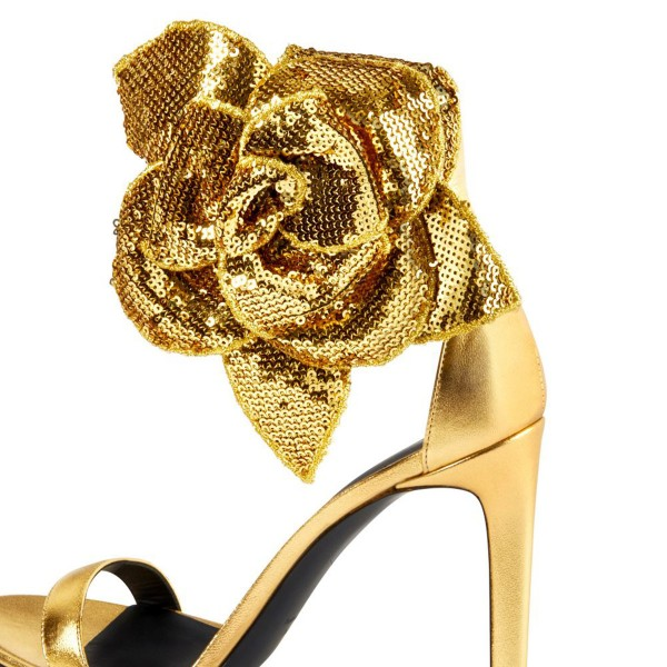 Gold Flower Embellished Evening Shoes Ankle Strap Sandals image 4
