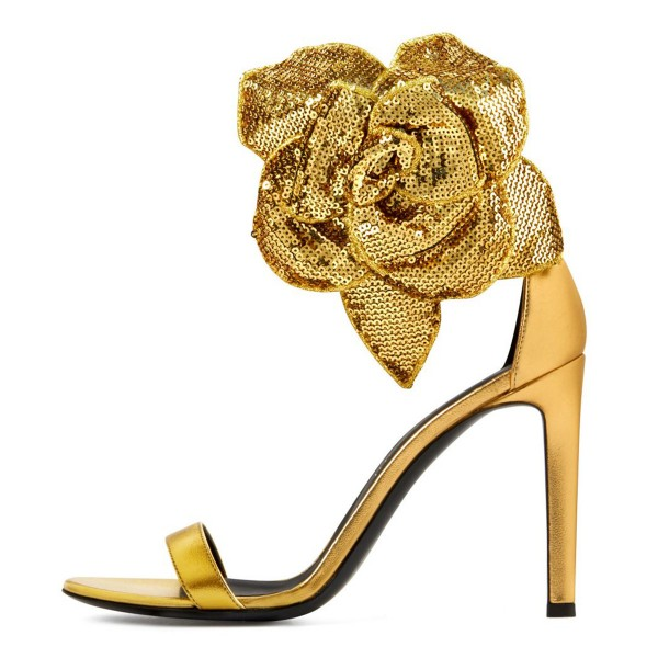 Gold Flower Embellished Evening Shoes Ankle Strap Sandals image 3