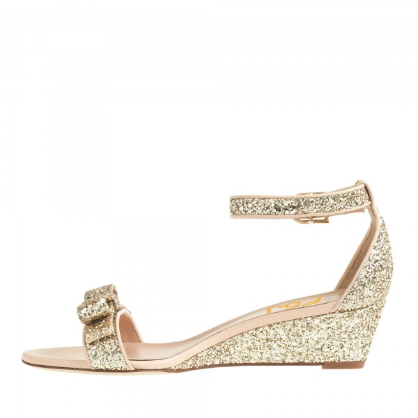 Women's Golden Ankle Strap Sandals Glitter Wedge Heel with Bow image 5