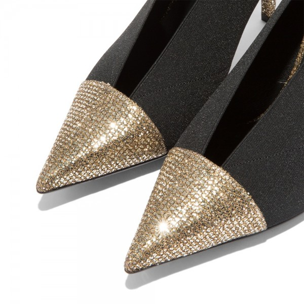 Gold Glitter Shoes and Black Elastic Cone Heel Pumps image 3