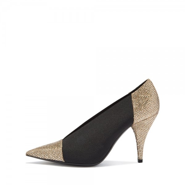 Gold Glitter Shoes and Black Elastic Cone Heel Pumps image 2