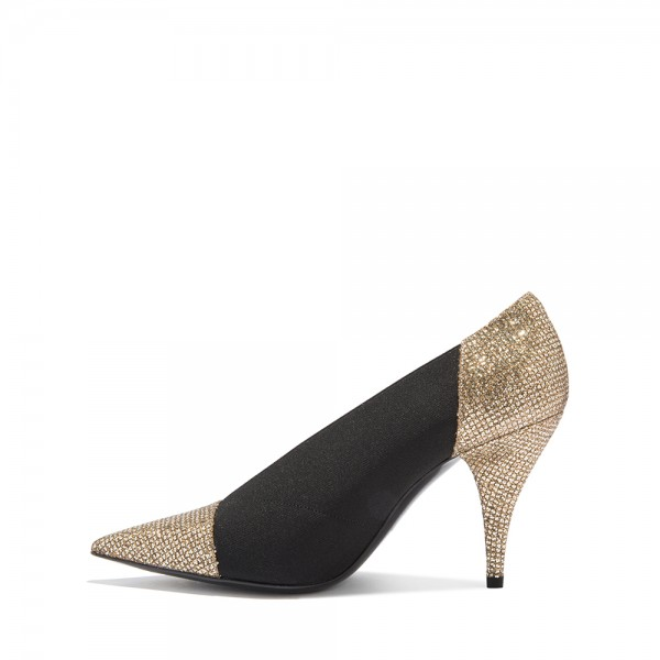 Gold Glitter Shoes and Black Elastic Cone Heel Pumps image 5