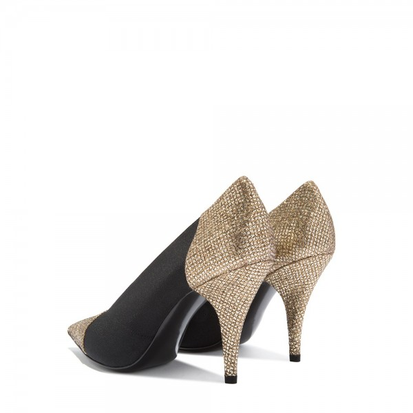 Gold Glitter Shoes and Black Elastic Cone Heel Pumps image 4