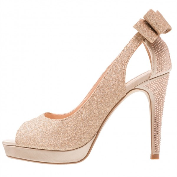 Rose Gold Glitter Shoes Peep Toe Platform Pumps with Bow image 2