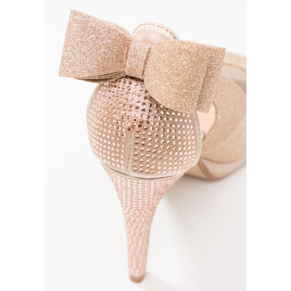 Rose Gold Glitter Shoes Peep Toe Platform Pumps with Bow image 4