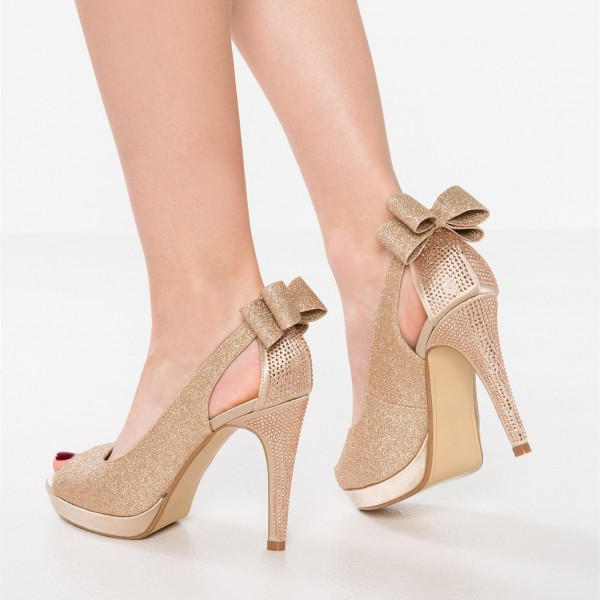 Rose Gold Glitter Shoes Peep Toe Platform Pumps with Bow image 1