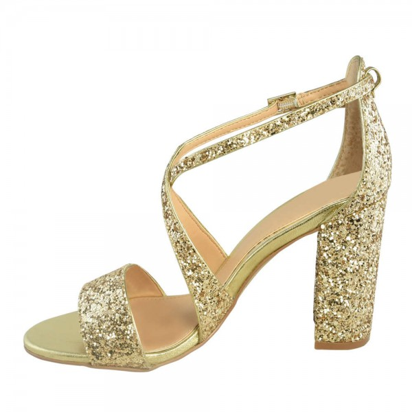 Gold Glitter Shoes Cross Over Chunky Heel Sandals image 1
