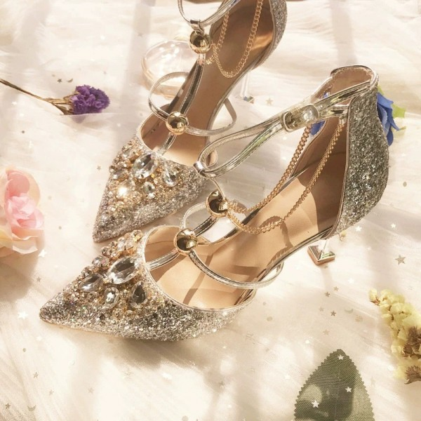Gold Glitter Shoes Stiletto Heel Pumps with Rhinestone image 2