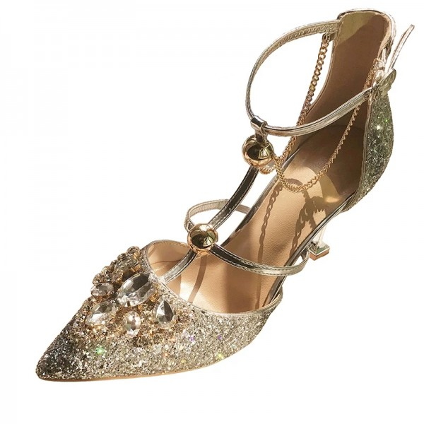 Gold Glitter Shoes Stiletto Heel Pumps with Rhinestone image 1