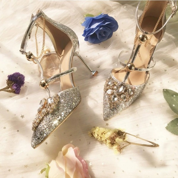 Gold Glitter Shoes Stiletto Heel Pumps with Rhinestone image 3