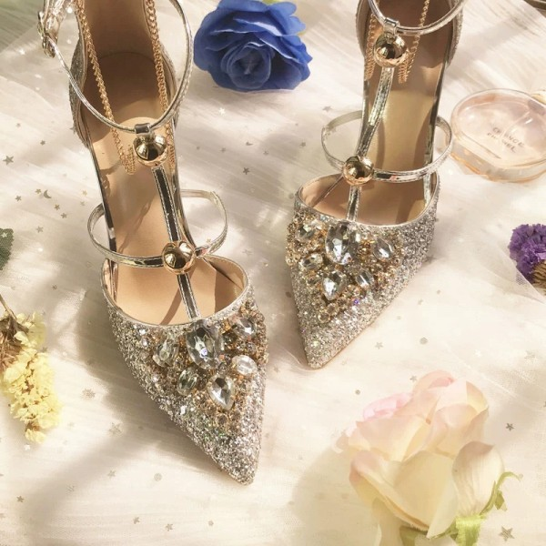 Gold Glitter Shoes Stiletto Heel Pumps with Rhinestone image 5