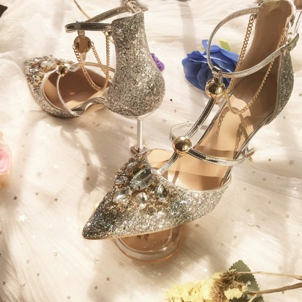 Gold Glitter Shoes Stiletto Heel Pumps with Rhinestone image 4