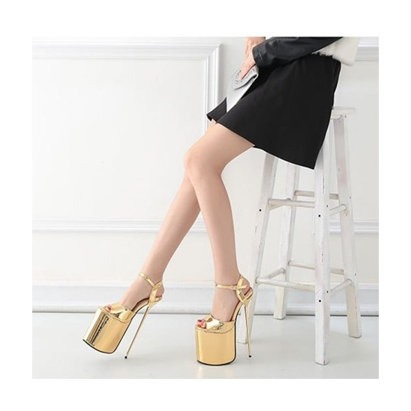 Gold Stripper Heels Peep Toe Metallic Stiletto Heel Sexy Shoes image 3