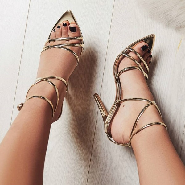 Gold Metallic Heels  Stiletto Heel Strappy Sandals image 1