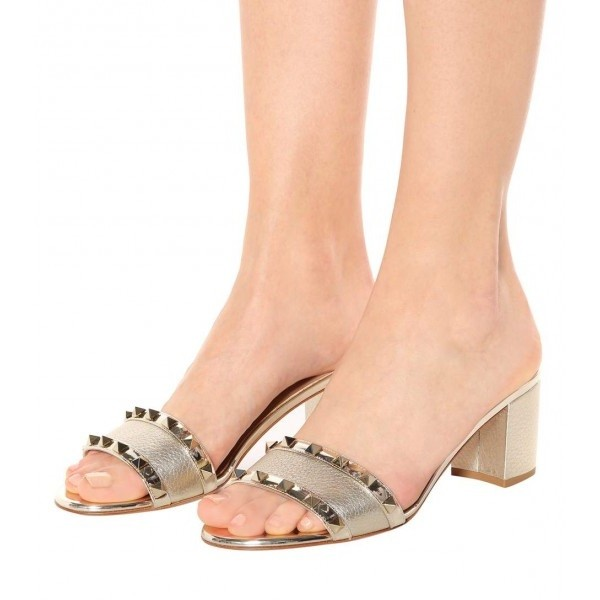 Champagne Rivets Block Heels Mules image 1