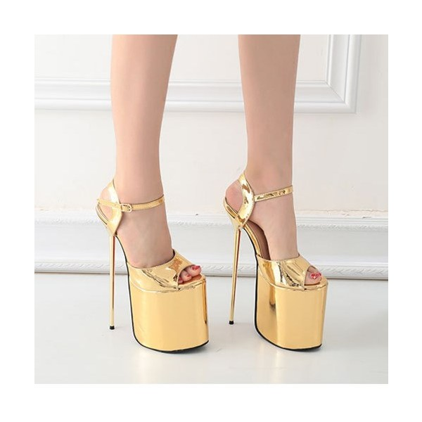 Gold Stripper Heels Peep Toe Metallic Stiletto Heel Sexy Shoes image 2