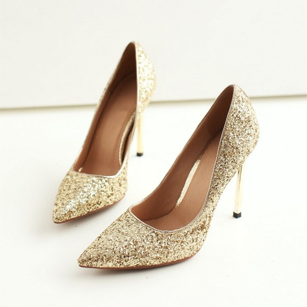 Gold Glitter Pointy Toe Stiletto Heels Pumps image 1