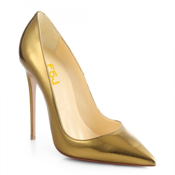 Gold Metallic Heels Pointy Toe Stiletto Heel Pumps for Office Lady image 5