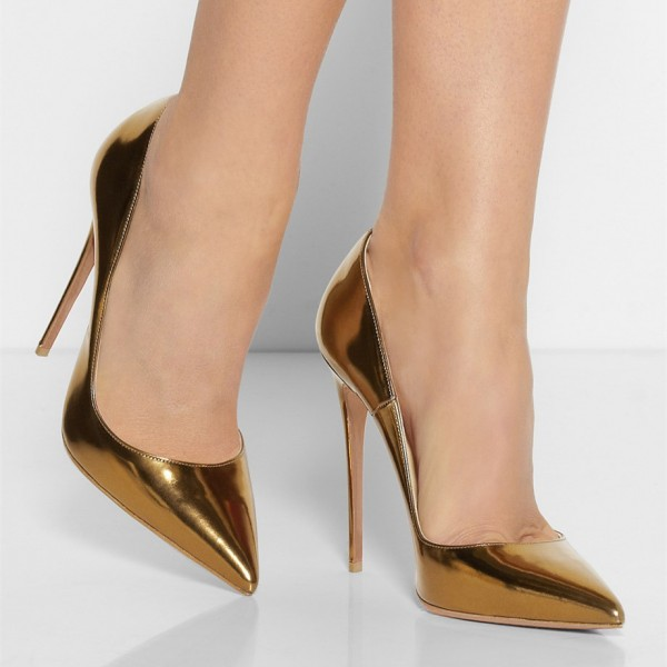 Gold Metallic Heels Pointy Toe Stiletto Heel Pumps for Office Lady image 3
