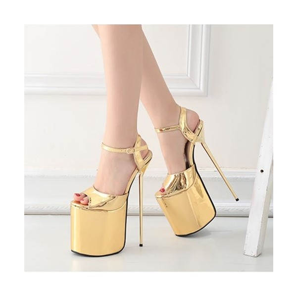 Gold Stripper Heels Peep Toe Metallic Stiletto Heel Sexy Shoes image 1