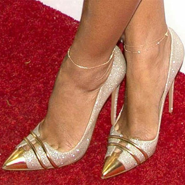 Silver and Gold Glitter Shoes Stiletto Heel Evening Wedding Pumps image 1