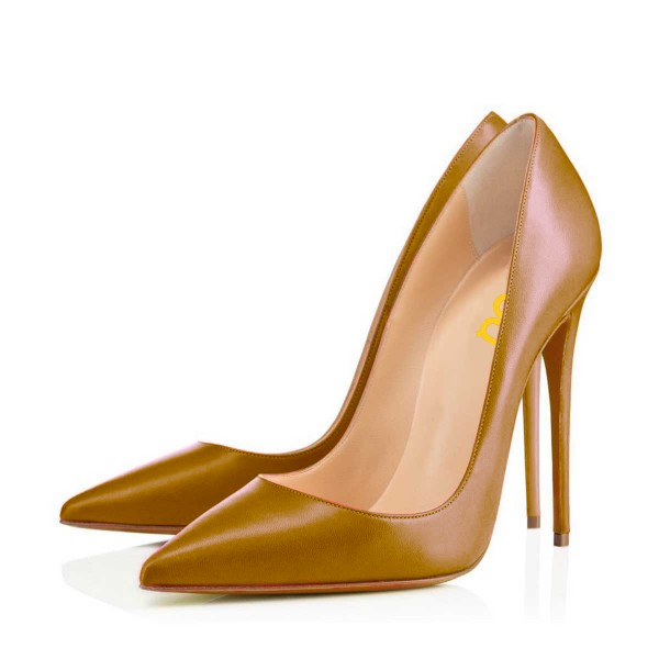 Goldenrod Stiletto Heels Formal Shoes Pointy Toe Office Pumps image 1
