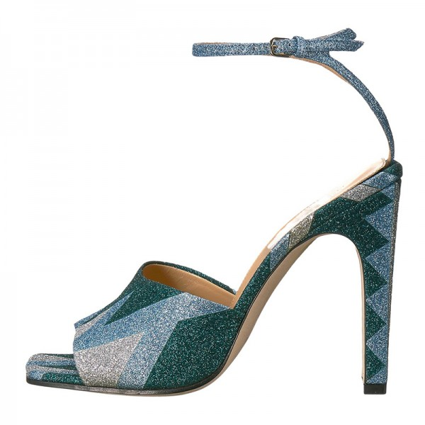 Green and Blue Sparkly Chunky Heel Ankle Strap Sandals image 3