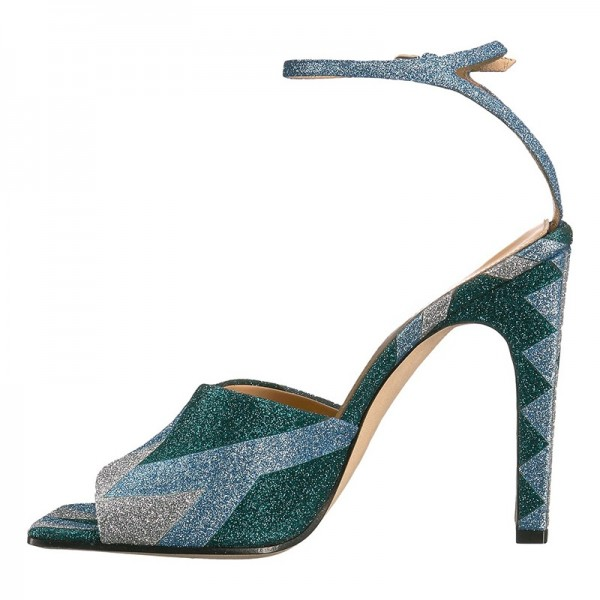 Green and Blue Sparkly Chunky Heel Ankle Strap Sandals image 1