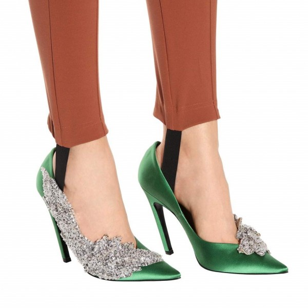 Green and Silver Sequined Prom Shoes Satin Stiletto Heels Pumps image 2