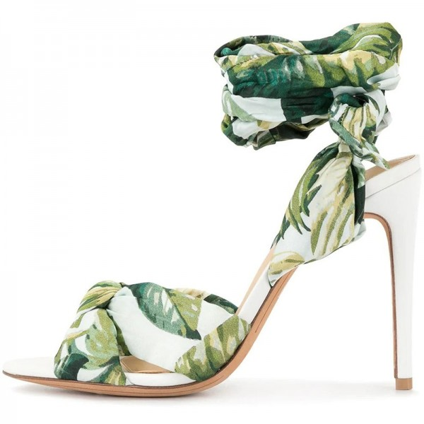 Green Floral Satin Ankle Wrapped Stiletto Heel Sandals image 2
