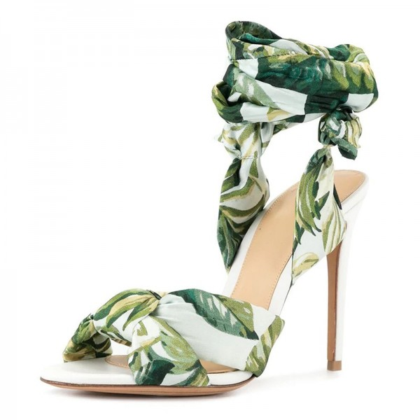 Green Floral Satin Ankle Wrapped Stiletto Heel Sandals image 1