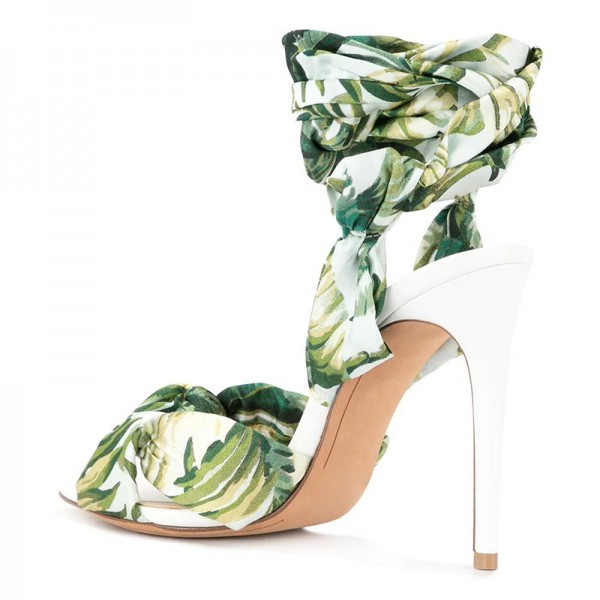Green Floral Satin Ankle Wrapped Stiletto Heel Sandals image 4