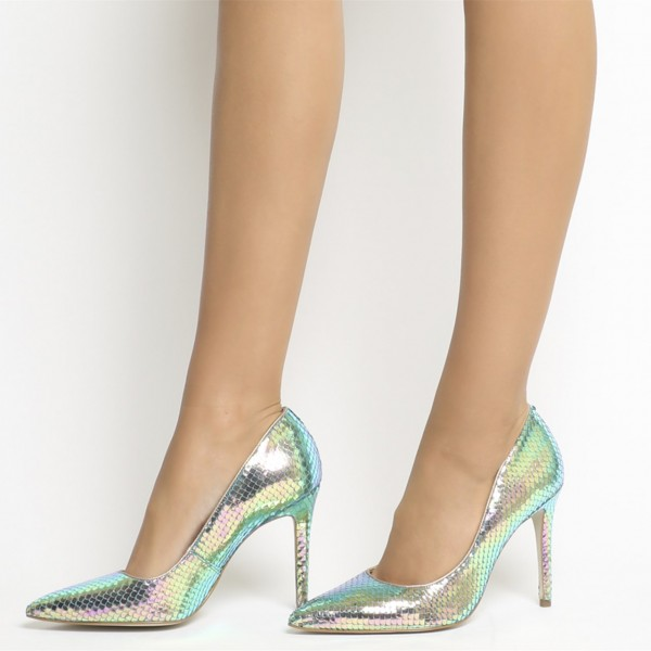 Green Holographic Fish-scale Stiletto Heels Mermaids High Heels Pumps image 1
