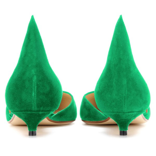 Green Kitten Heels Pointy Toe Pumps Suede Shoes image 3